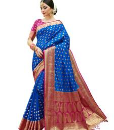 Buy Blue woven banarasi saree with blouse banarasi-silk-saree online