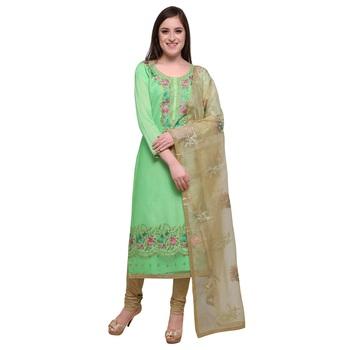 Light-Green Resham Embroidery Chanderi Salwar