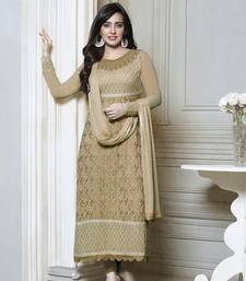 Buy Beige embroidered georgette semi stitched salwar with dupatta party-wear-kurtis online