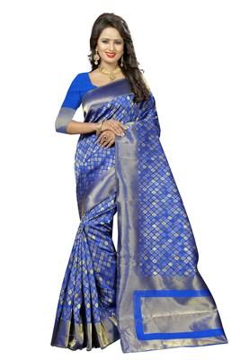Blue woven kanchipuram art silk saree with blouse