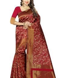 Buy Red woven kanchipuram art silk saree with blouse kanchipuram-silk-saree online