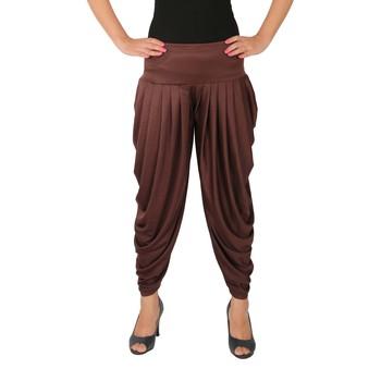 Brown plain Lycra free size patialas pants
