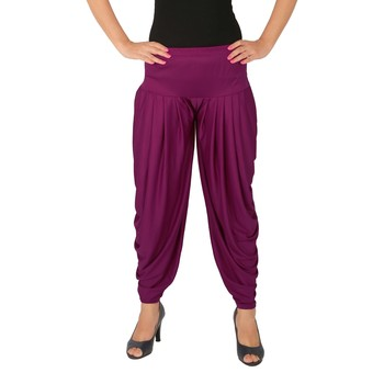 Purple plain Lycra free size patialas pants