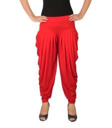 Red plain Lycra free size patialas pants