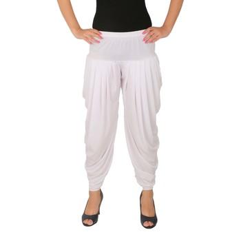 White plain Lycra free size patialas pants