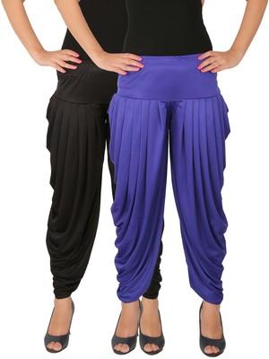 Black and Blue plain Lycra free size combo patialas pants