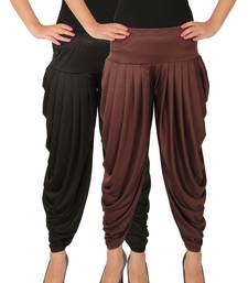 Black and Brown plain Lycra free size combo patialas pants