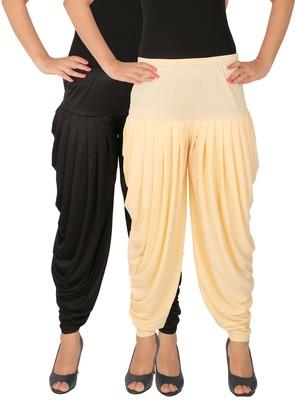 Black and Cream plain Lycra free size combo patialas pants