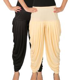 Black and Cream plain Lycra free size combo patialas pants