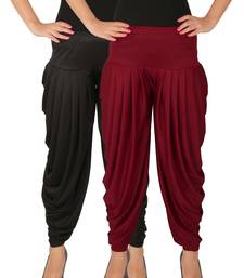 Black and Maroon plain Lycra free size combo patialas pants