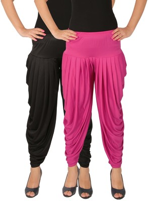 Black and Magenta plain Lycra free size combo patialas pants