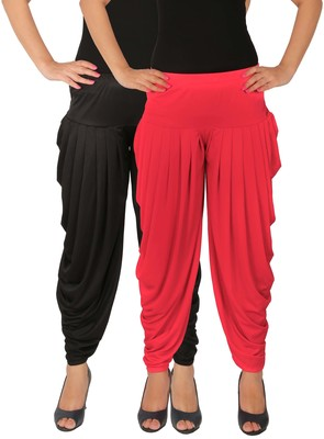 Black and Pink plain Lycra free size combo patialas pants