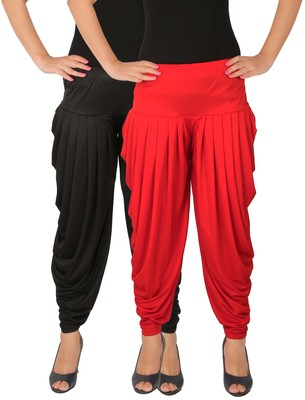 Black and Red plain Lycra free size combo patialas pants