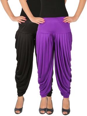 Black and Violet plain Lycra free size combo patialas pants