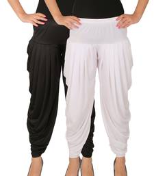 Black and White plain Lycra free size combo patialas pants