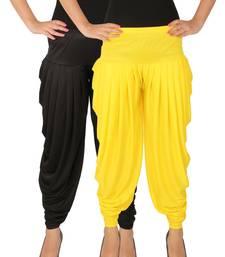 Black and Yellow plain Lycra free size combo patialas pants