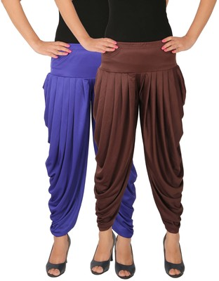 Blue and Brown plain Lycra free size combo patialas pants