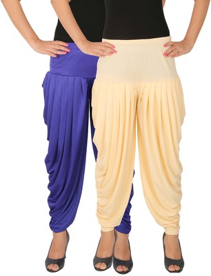 Blue and Cream plain Lycra free size combo patialas pants