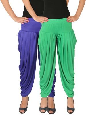 Blue and Green plain Lycra free size combo patialas pants