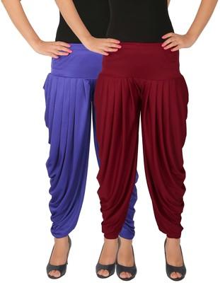 Blue and Maroon plain Lycra free size combo patialas pants