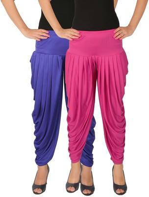 Blue and Magenta plain Lycra free size combo patialas pants