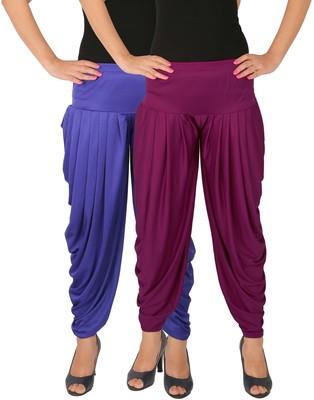 Blue and Purple plain Lycra free size combo patialas pants