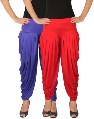 Blue and Red plain Lycra free size combo patialas pants