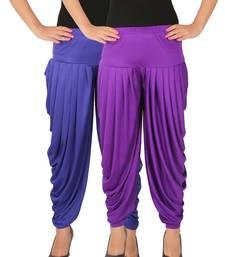 Blue and Violet plain Lycra free size combo patialas pants