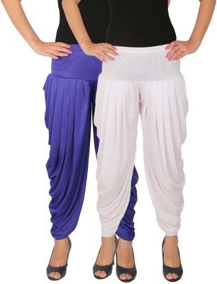 Blue and White plain Lycra free size combo patialas pants