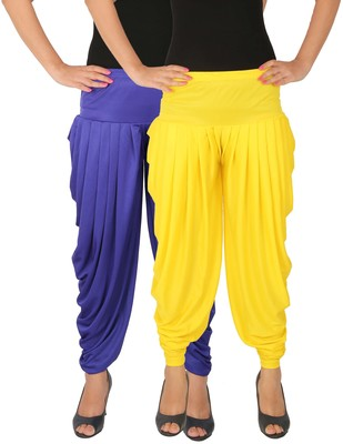 Blue and Yellow plain Lycra free size combo patialas pants