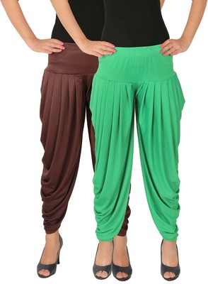 Brown and Green plain Lycra free size combo patialas pants