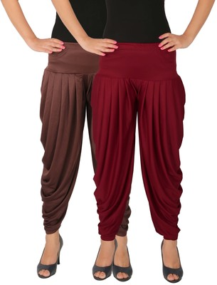 Brown and Maroon plain Lycra free size combo patialas pants