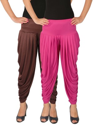 Brown and Magenta plain Lycra free size combo patialas pants