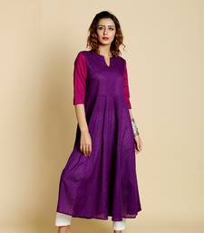 Purple cotton long kurtis