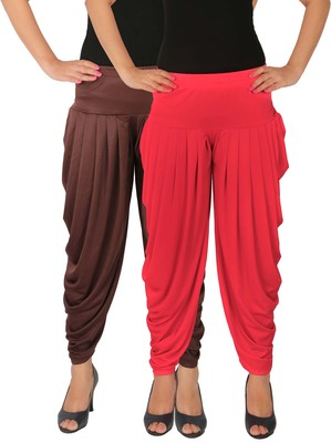 Brown and Pink plain Lycra free size combo patialas pants