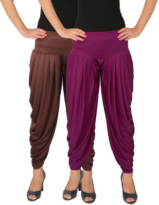 Brown and Purple plain Lycra free size combo patialas pants