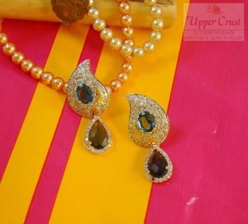 Iolite Blue Zircone Stud Dangle Earrings