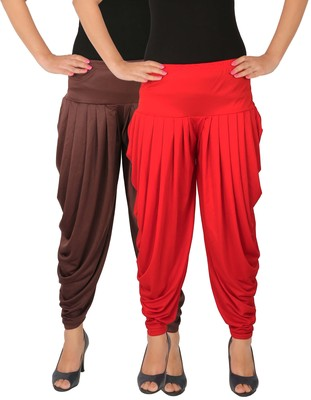 Brown and Red plain Lycra free size combo patialas pants