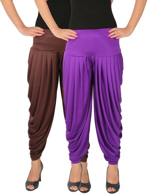 Brown and Violet plain Lycra free size combo patialas pants