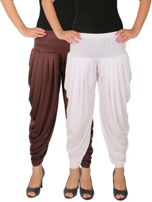 Brown and White plain Lycra free size combo patialas pants