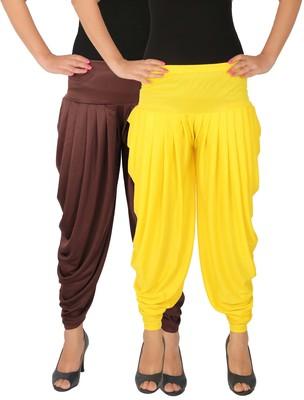 Brown and Yellow plain Lycra free size combo patialas pants