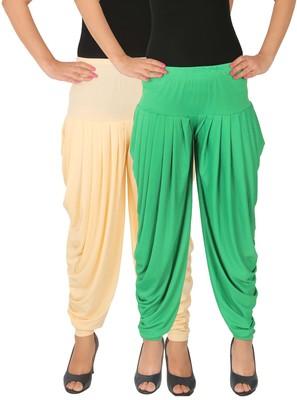 Cream and Green plain Lycra free size combo patialas pants