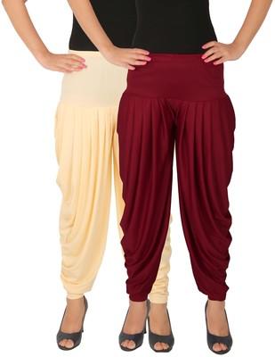 Cream and Maroon plain Lycra free size combo patialas pants