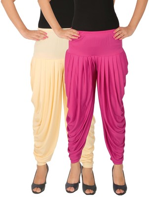Cream and Magenta plain Lycra free size combo patialas pants