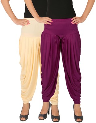 Cream and Purple plain Lycra free size combo patialas pants
