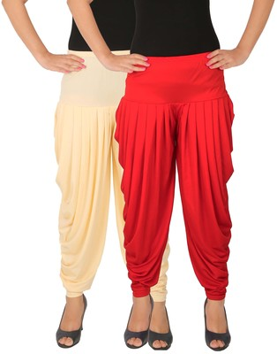 Cream and Red plain Lycra free size combo patialas pants