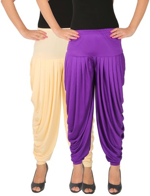 Cream and Violet plain Lycra free size combo patialas pants
