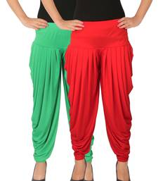 Buy Green and Red plain Lycra free size combo patialas pants patiala-combo online