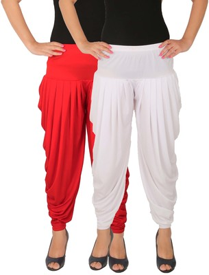 Red and White plain Lycra free size combo patialas pants