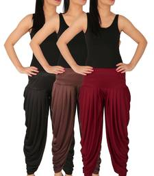 Black and Brown and Maroon plain Lycra free size combo patialas pants
